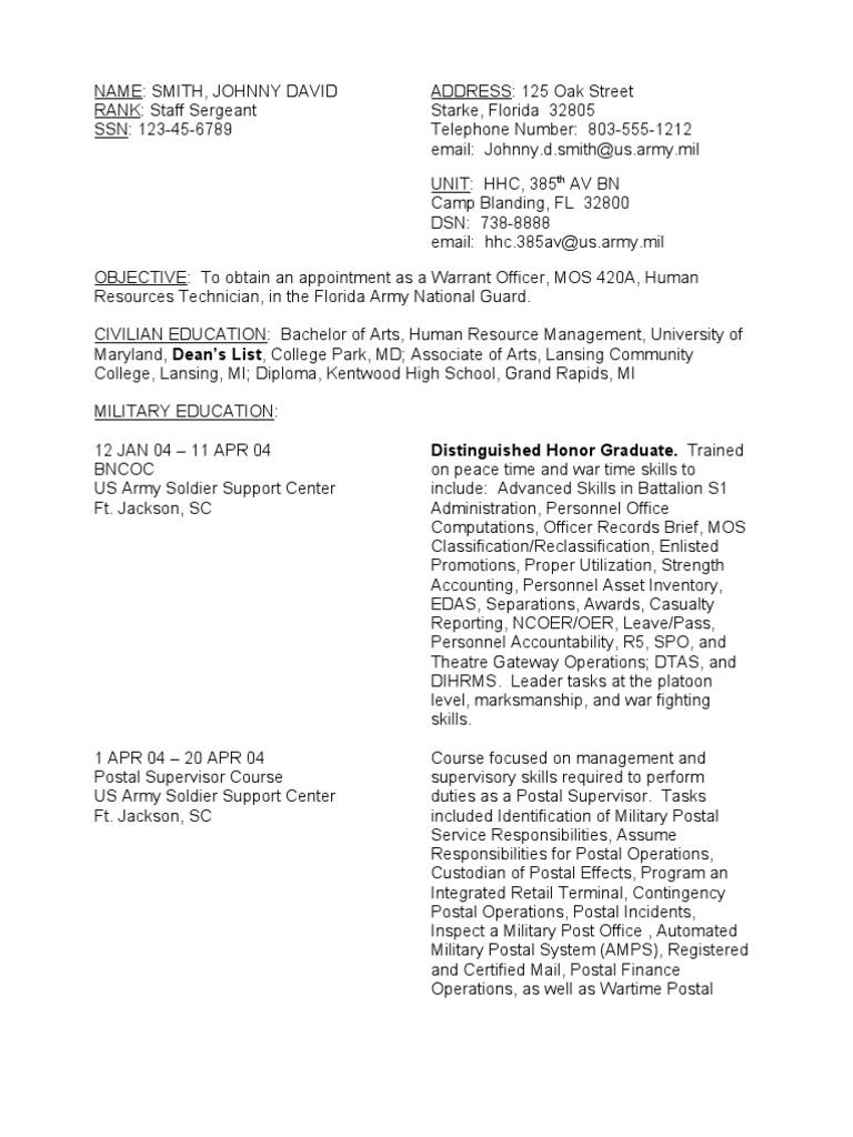 resume sample soldier warrant officer united states officer