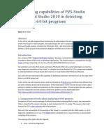 Comparing capabilities of PVS-Studio and Visual Studio 2010 in detecting defects in 64-bit programs