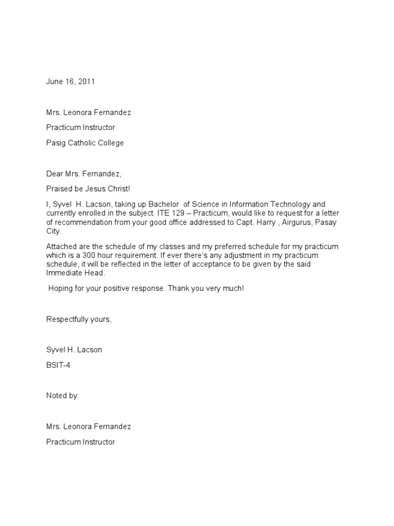 Request For On The Job Training Endorsement Letter Academia