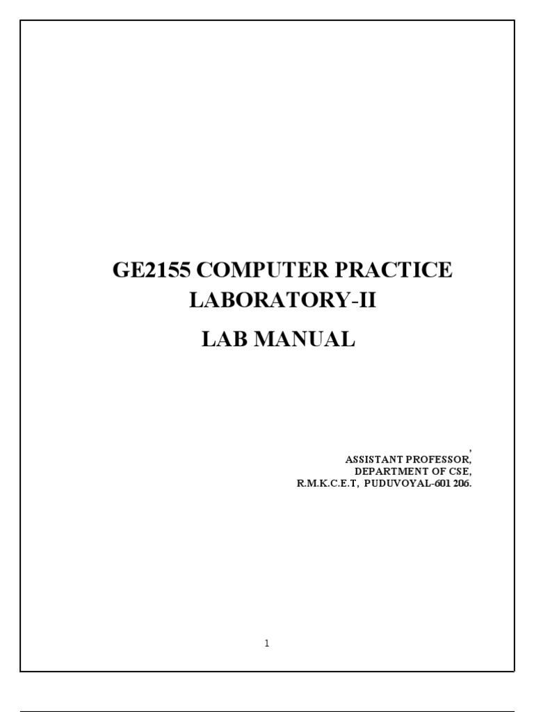 Computer practice lab manual | system | databases.