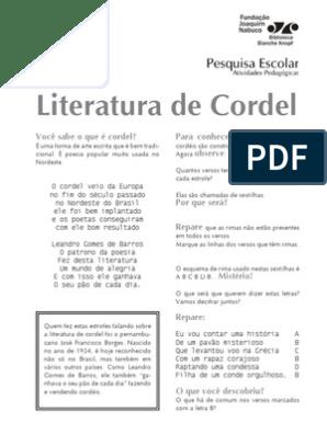 Atividade Literatura De Cordel Ficcao E Literatura