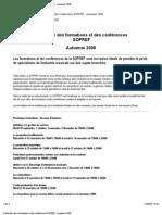 Cal en Drier Des Formations Et Des Conférences SOPREF - Automne 2008