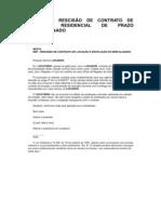 CARTA DE RESCISÃO DE CONTRATO DE LOCAÇÃO RESIDENCIAL DE PRAZO INDETERMINADO