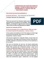 16 PERSONALIDADES  QUE INFLUYEN EN LA EDUCACIÒN Y  LOS ORGANISMOS INTERNACIONALES DICEN QUE LA EDUCACION EN PERU NO ES DE CALIDAD