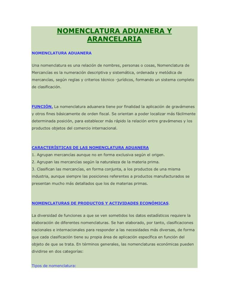 Nomenclatura Aduanera y Arancelaria | Aduana | Arancel