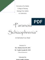 Paranoid Schizoprenia (Individual Case)