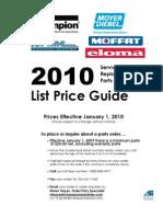 Champion Parts PriceList 2010