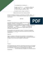 Solicitud de Ejecucion de Acta de Conciliacion y Embargo
