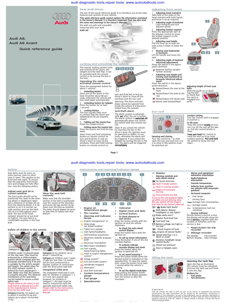 Audi A6 Quick Reference Guide Diagram User Manual Headlamp Seat Belt