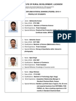 Profile of Students of PGDRB Batch 2010-11
