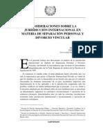 Consideraciones Sobre La Jurisdiccion Internacional en Materia de Separacion