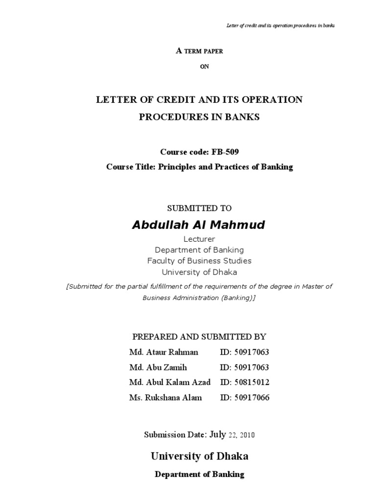 Lc operation procedures in bank letter of credit private law mitanshu Gallery