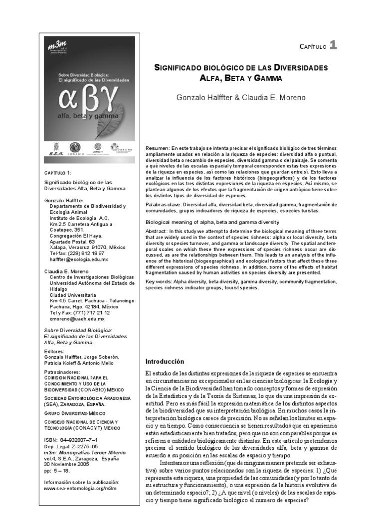 significado biol gico de las diversidades alfa beta y gamma