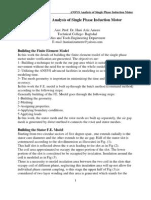 ANSYS Analysis of Single Phase Induction Motor - Hani Aziz