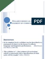 Syllabus Design as an Element of Curriculum