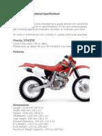 Honda XR400R Technical Specifications