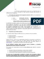 Carta Alumnos Matricula Primavera 2011
