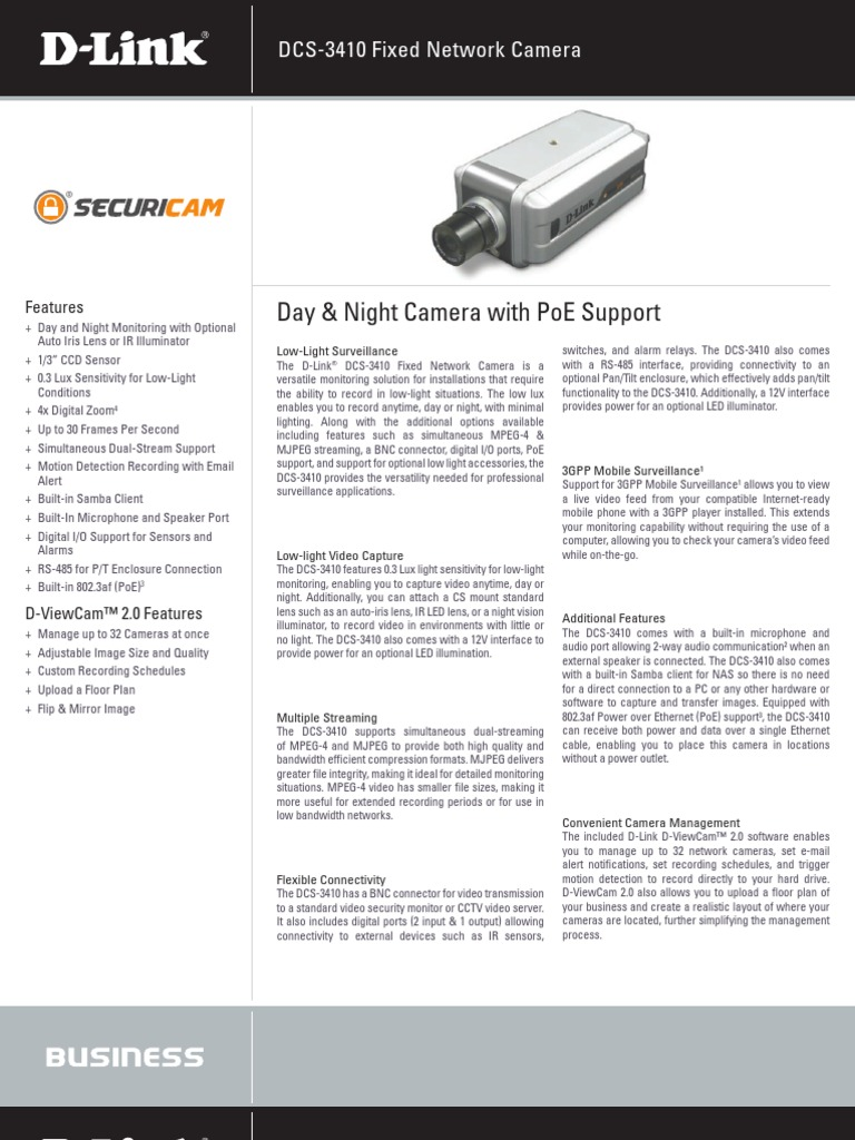 DCS-3410_ds | Internet Protocol Suite | Camera