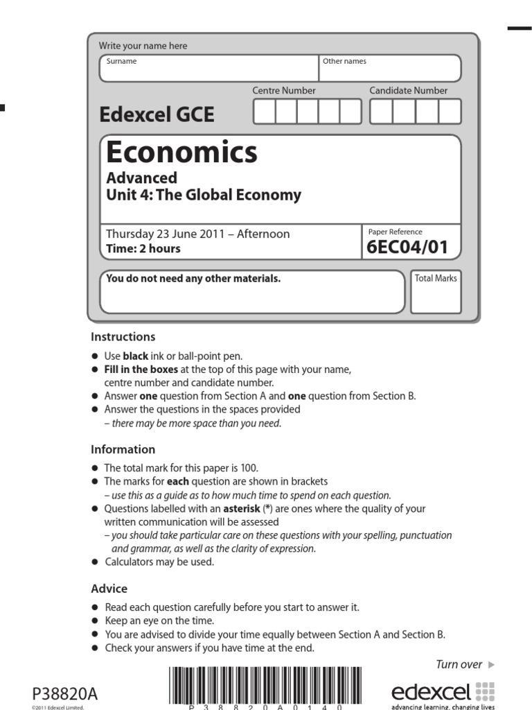 edexcel economics unit 2 past papers