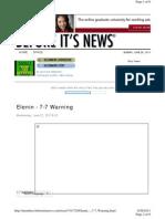 Elenin - 7-7-2011 Warning