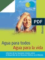 Naciones Unidas Agua Para Todos Agua Para La Vida