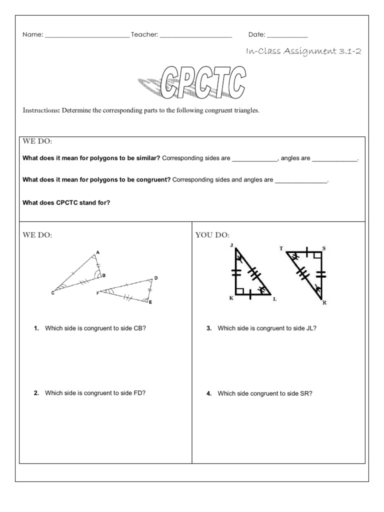 worksheet Cpctc Worksheet 3 1 2 congruency similarity and cpctc worksheet