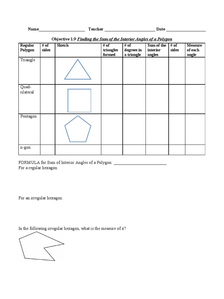 2.4 Finding the sum of interior angles of polygons ...