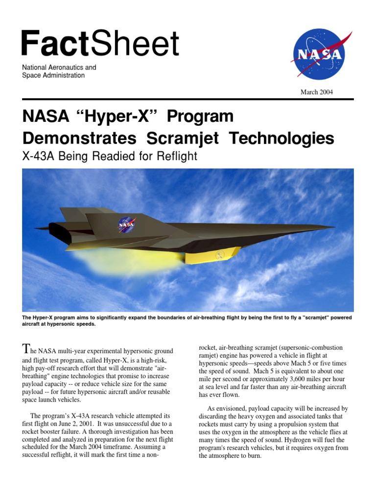 NASA Facts NASA Hyper-X Program Demonstrates Scramjet