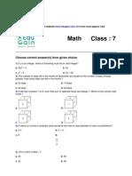 Class 7 Sample Math Olympiad Paper