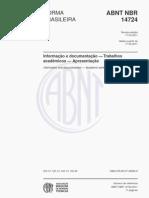 NBR 14724 (Mar 2011) -  Trabalhos Academicos- Apresentação -ATUAL