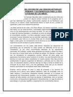 IMPORTANCIA DEL ESTUDIO DE LAS CIENCIAS NATURALES EN LA ESCUELA PRIMARIA Y SUS BENEFICIOS PARA LA VIDA COTIDIANA DE LOS NIÑOS