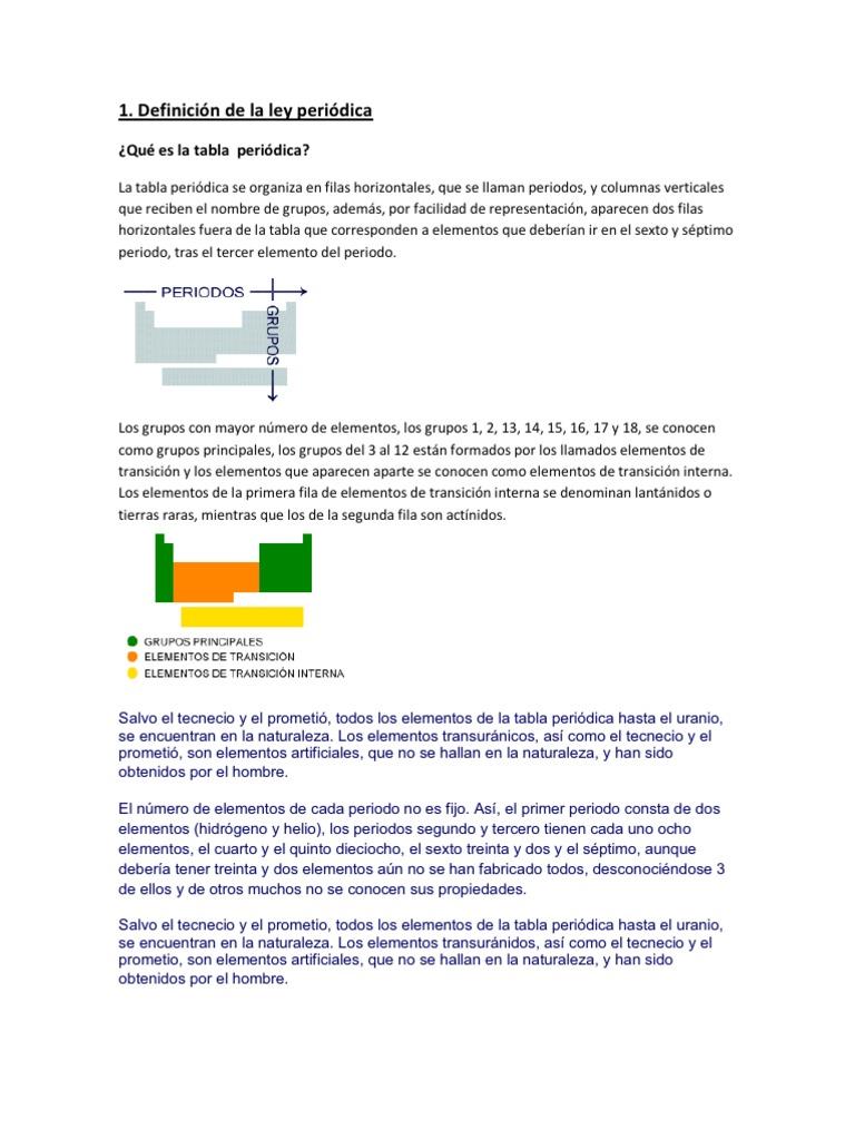 trabajo de quimica - Tabla Periodica Elementos De Transicion Interna