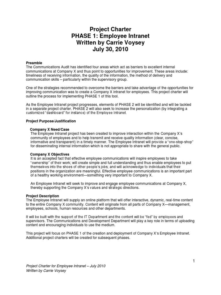 Employee Intranet Project Charter   Employment   Budget