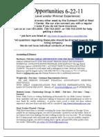 JOB LIST 06-22-11