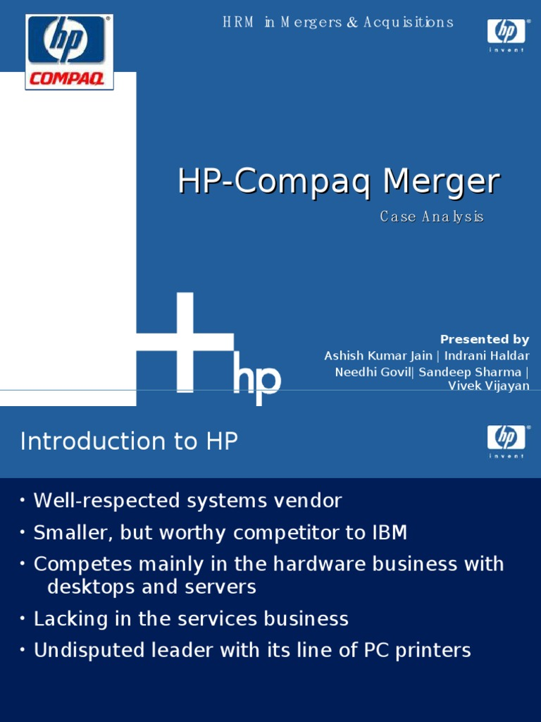 mergers and acquisition - a case study and analysis of hp-compaq merger