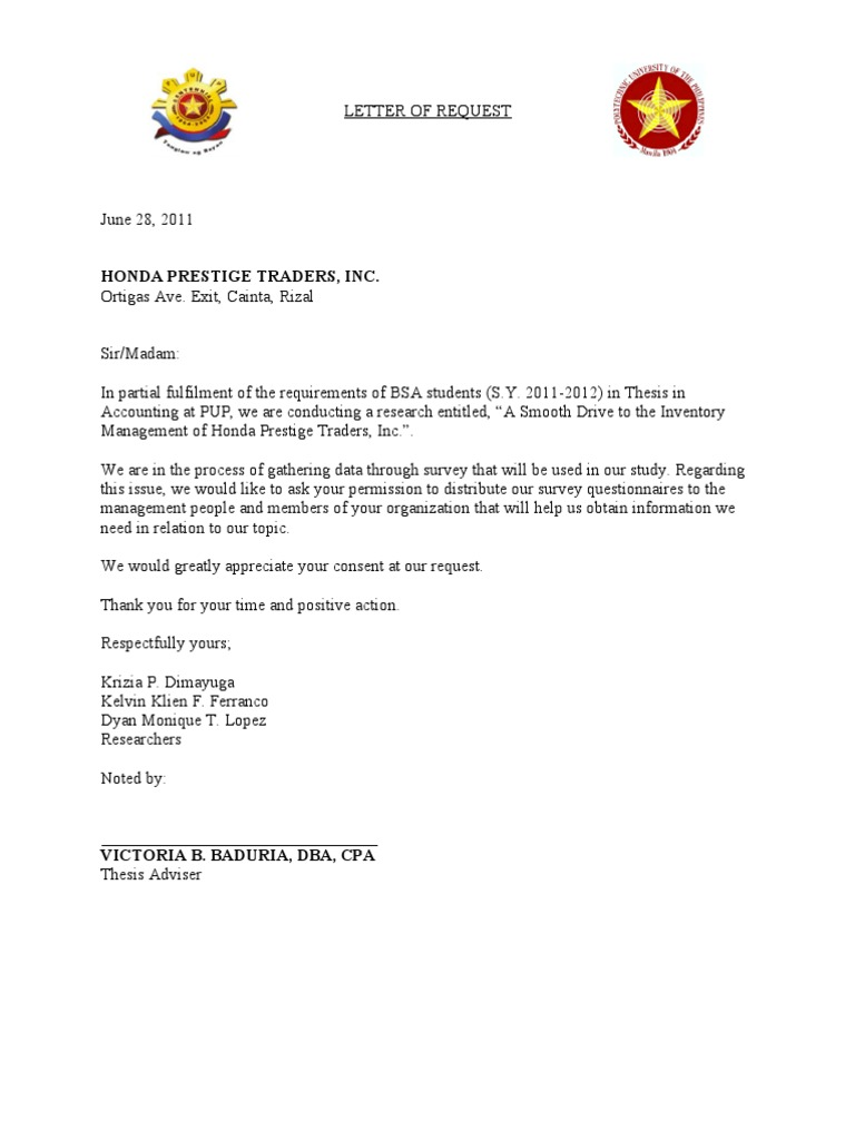 sample letter request for thesis supervisor