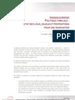 Synthèse rapport Politiques familiales - Terra Nova - Juillet 2011