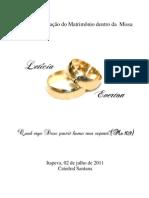 Folheto Casamento dentro da Santa Missa