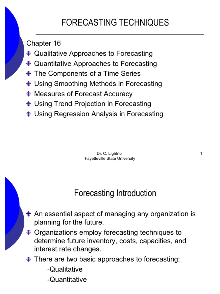 Forecasting Techniques | Forecasting | Time Series