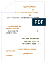 Term Paper Crm of Hyundai Motors Private Limited