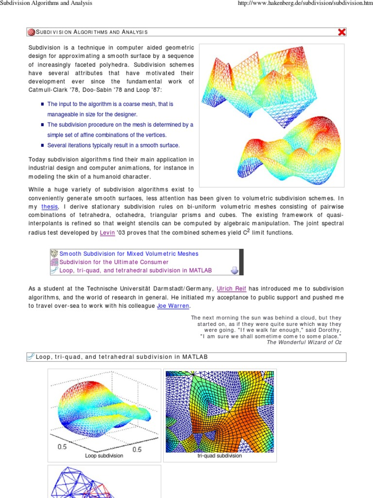 Subdivision Algorithms and    | Algorithms | Tetrahedron