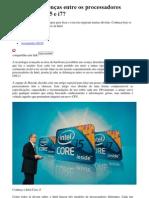 Quais as diferenças entre os processadores Intel Core i3,i5,i7