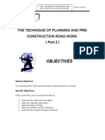 Unit 3 ( THE TECHNIQUE OF PLANNING AND PRE-CONSTRUCTION ROAD WORK  ( Part 2 )  )