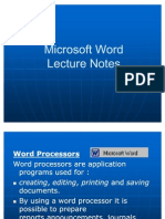 Microsoft Word Lecture Power Point