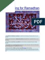 Preparing for Ramadhan