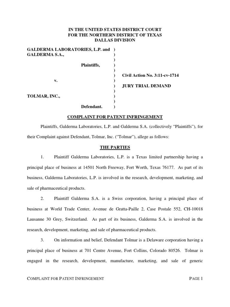 Galderma Laboratories Et Al V Tolmar Patent Infringement Patent