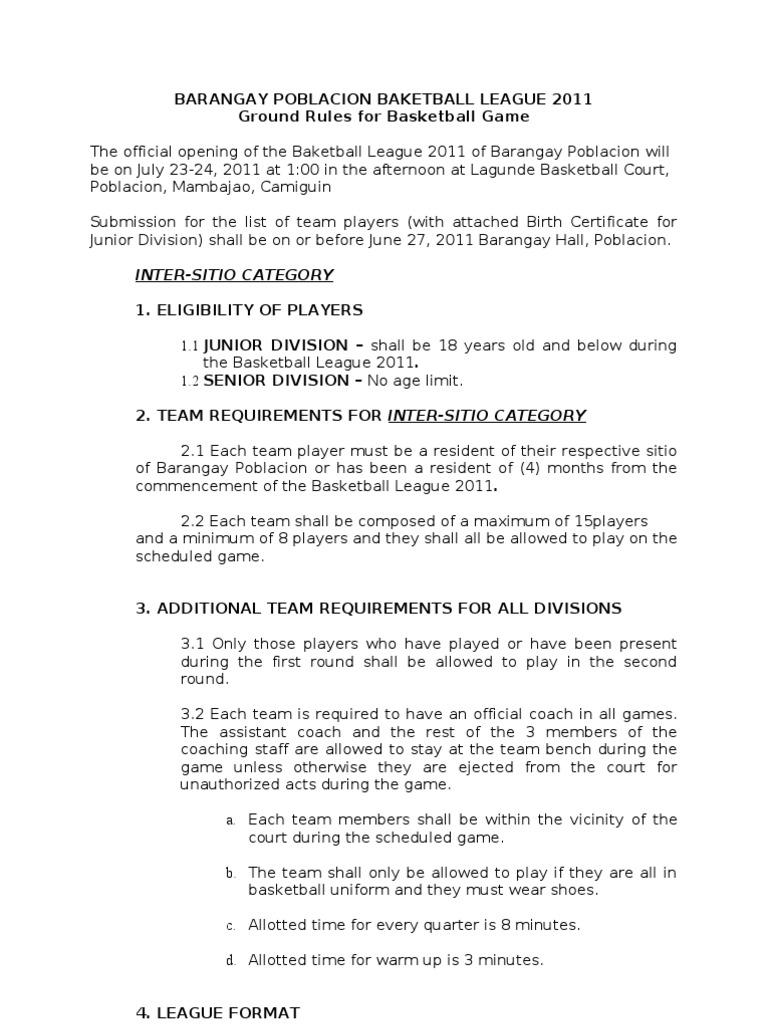 Ground rules basketball referee society stopboris Choice Image