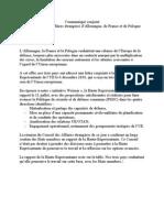 Communiqué de presse conjoint de la France, l'Allemagne et la Pologne concernant le QG européen permanent