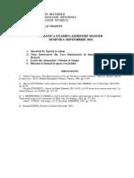 Tematica Admitere Master Istorica 2011
