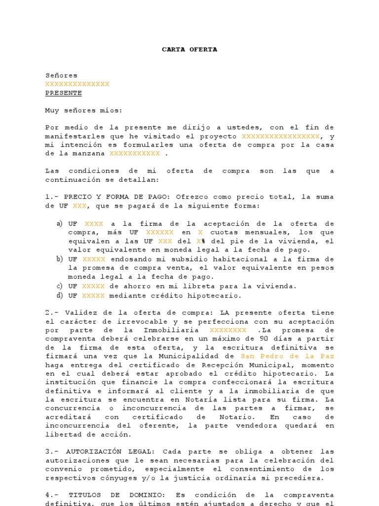 Carta para ofertar for Busco piso compra